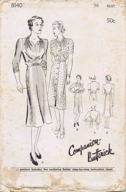1930s Fitted Frock or Dress Butterick 8140 Vintage Sewing Pattern Bust 36