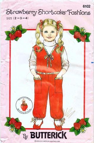 Butterick 6102 Vintage Sewing Pattern Strawberry Shortcake Girls Vest Pants Top Size 2 - 3 - 4