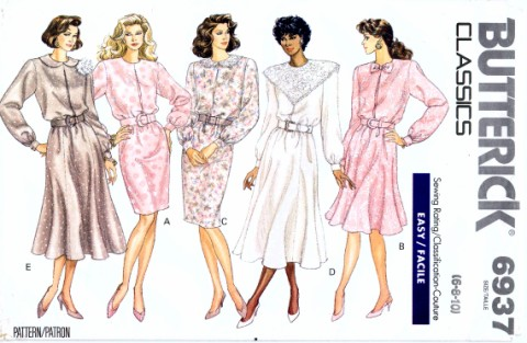 Butterick 6937 Womens Dress Vintage Sewing Pattern Size 6 - 8 - 10