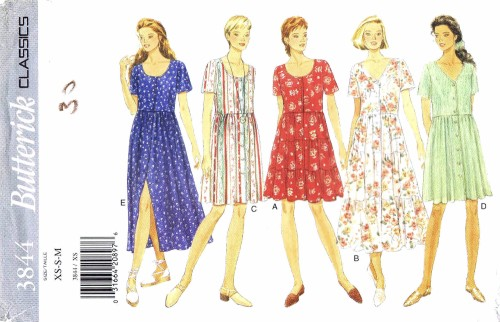 Misses Raised Waist Flared Dress Butterick 3844 Sewing Pattern Size 6-8-10-12-14