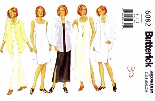 Misses Shirt Top Dress Pants Butterick 6082 Sewing Pattern Size 8 - 10 - 12