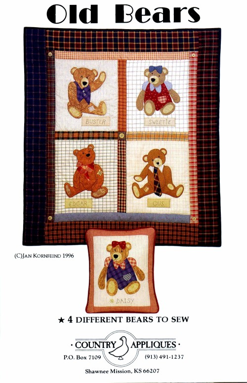 Old Bears Quilt Wallhanging Pillow Coutry Appliques Sewing Pattern