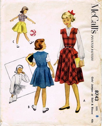 1950's McCall's 8743 Sewing Pattern Girls Jumper Circle Skirt Blouse