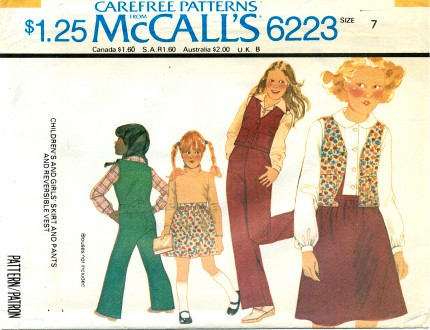 McCall's 6223 Skirt Pants Reversible Vest Size 7