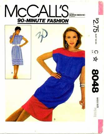McCall's 8048 Dress and Tie Belt Size 6 - 8 - Bust 30 1/2 - 31 1/2