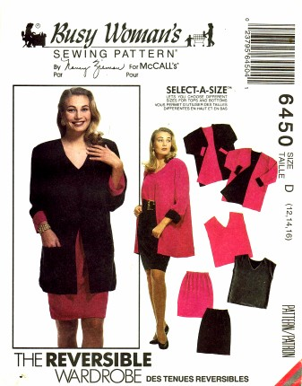 McCall's 6450 Sewing Pattern Misses Reversible Jacket Top Skirt Shorts Size 12 - 14 - 16