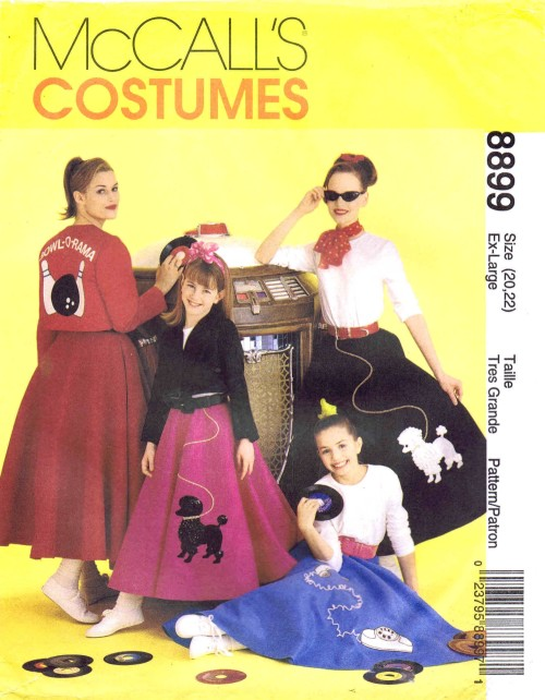 Misses Poodle Skirt Top Bowling Jacket McCalls 8899 Sewing Pattern Size 20 - 22