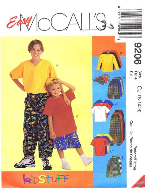 Boys Shirt T-Shirt Pants Shorts Baseball Hat McCalls 9206 Sewing Pattern Size 10 - 12 - 14