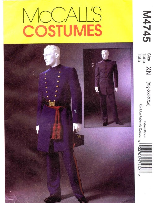 Mens Civil War Costumes McCalls 4745 Sewing Pattern XLG - XXL - XXXL
