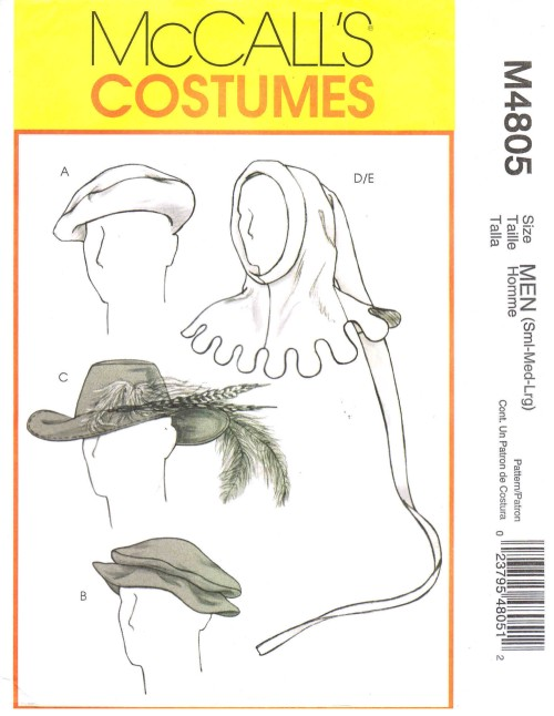 Mens Medieval and Renaissance Hats Costumes McCalls 4805 Sewing Pattern Size S - M - L