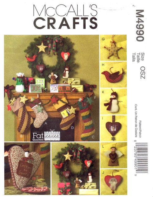 Fat Quarters Christmas Items Stocking Pillow Garland Ornaments McCalls 4990 Sewing Pattern