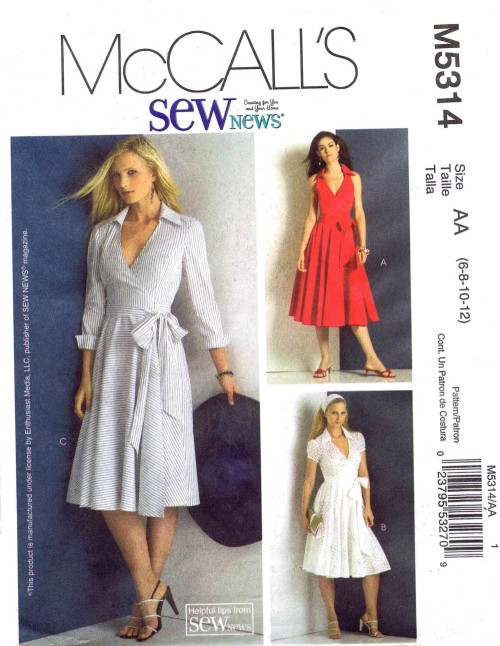 Misses Wrap Dresses McCalls 5314 Sewing Pattern Size 6 - 8 - 10 - 12