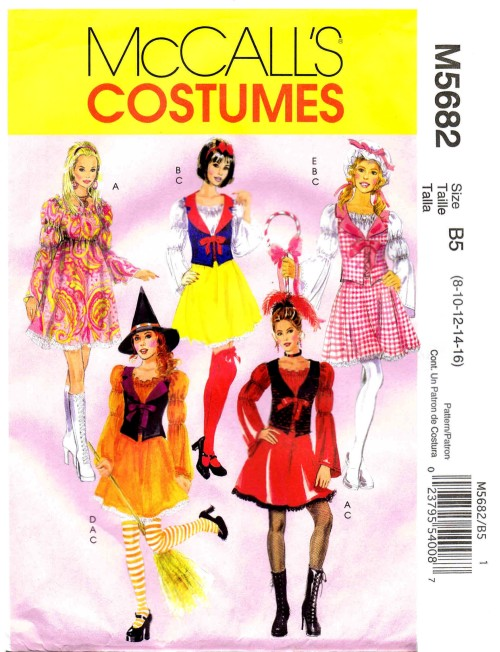 Snow White Little Bo Peep Witch Costumes McCalls 5682 Sewing Pattern Size 8 - 10 - 12 - 14 - 16