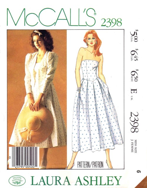 c9881de55fd1 McCalls 2398 Laura Ashley Misses Jacket and Dress Vintage Sewing Pattern  Size 6 Bust 30 1/2