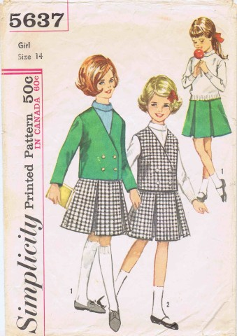 Simplicity 5637 Girls Skirt Jacket Vest Size 14