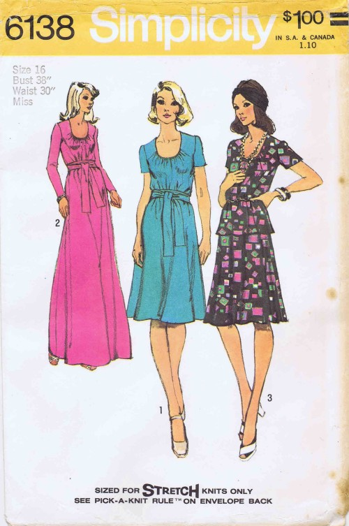 1970's Simplicity 6138 Sewing Pattern Dress Top Skirt Size 16 - Bust 38