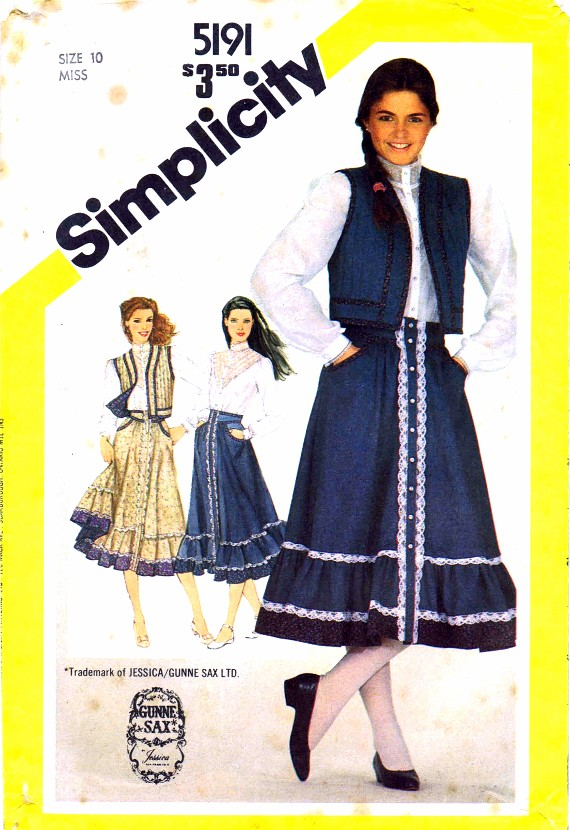 Simplicity 5191 Sewing Pattern Misses Blouse Skirt Quilted Vest Size 10