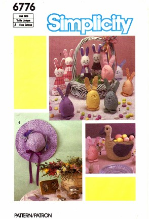 Simplicity 6776 Sewing Pattern Easter Soft Sculpture Egg Bunnies Duck Basket Hat Wall Hanging