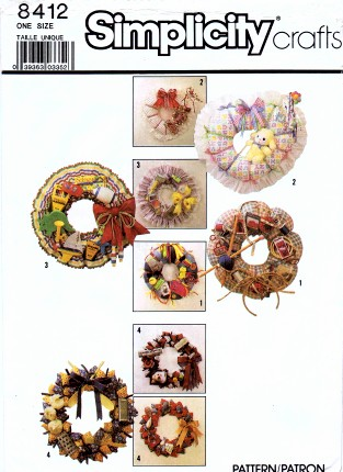 Simplicity 8412 Crafts Sewing Pattern Decorative Gift Wreaths
