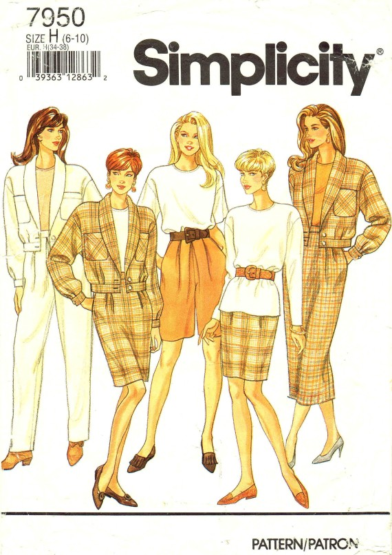 Simplicity 7950 Sewing Pattern Pants Shorts Skirt Top Jacket Size 6 - 8 - 10