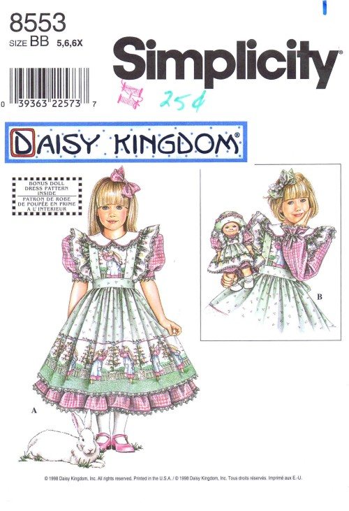 Girls Dress Pinafore Doll Clothes Daisy Kingdom Simplicity 8553 Sewing Pattern Size 5 - 6 - 6X