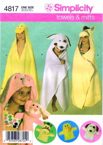 Simplicity 4817 Sewing Pattern Kids Animal Bath Towels Mitts