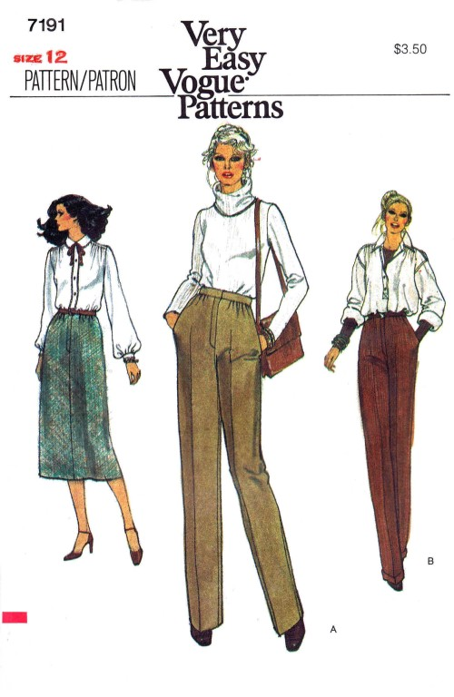 1970s Misses Straight Skirt and Slim Straight Leg Pants Vogue 7191 Vintage Sewing Pattern Size 12 Waist 26 1/2
