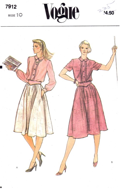 1980s Misses Loose Fitting Blouson Dress and Belt Vogue 7912 Vintage Sewing Pattern Size 10 Bust 32 1/2