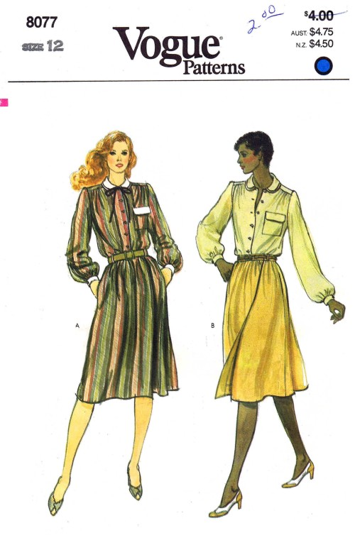 1980s Misses Blouse and Skirt Vogue 8077 Vintage Sewing Pattern Size 12 Bust 34