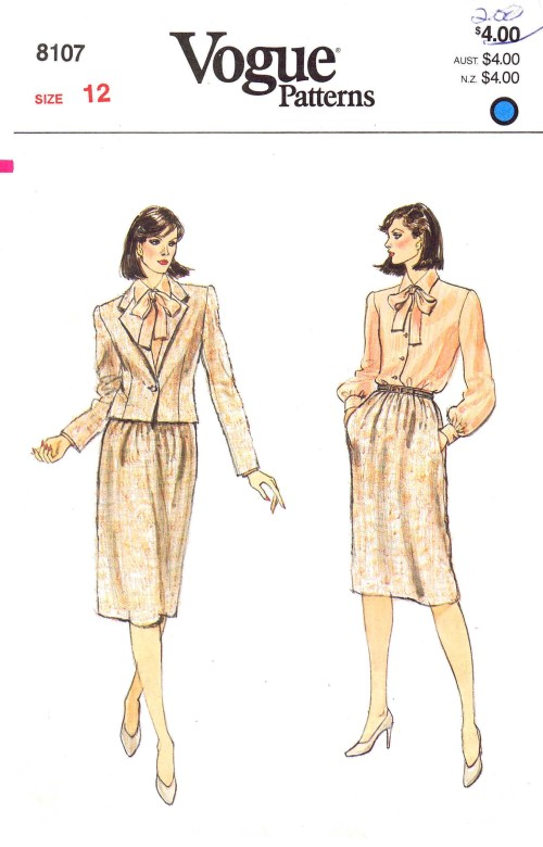 1980s Misses Jacket Skirt Blouse Tie Vogue 8107 Vintage Sewing Pattern Size 12 Bust 34