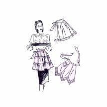 1940s Tiered Tucked and Gored Half Aprons Advance 4025 Vintage Sewing Pattern Size 16 - 18 Bust 34 - 36