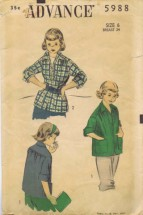 Advance 5988 Girls Sports Shirt Vintage Sewing Pattern Size 6