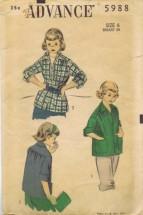 Advance 5988 Girls Sports Shirt Vintage Sewing Pattern Size 6