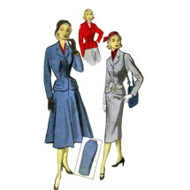 1950s Jacket Skirt Suit Advance 5944 Vintage Sewing Pattern Size 14 Bust 32