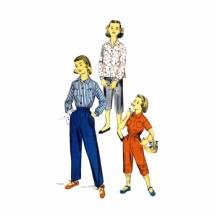 1950s Girls Slacks Pedal Pushers Shirt Advance 7739 Vintage Sewing Pattern Size 4