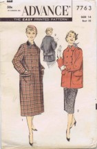 Misses Coat and Skirt Advance 7763 Vintage Sewing Pattern Size 14 Bust 32
