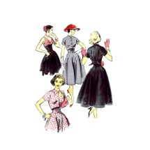 1950s Caraco Jacket Empire Dress John Moore Advance 8135 Vintage Sewing Pattern Size 16 Bust 36