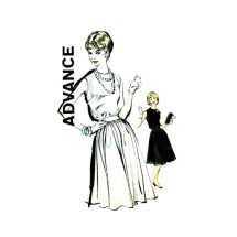 1960s Junior Misses Full Skirt Dress Advance 9868 Vintage Sewing Pattern Size 9 Bust 30 1/2