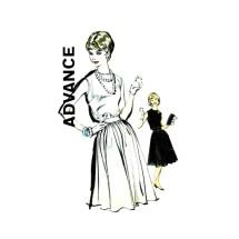 1960s Junior Misses Full Skirt Dress Advance 9868 Vintage Sewing Pattern Size 9 Bust 30 1/2