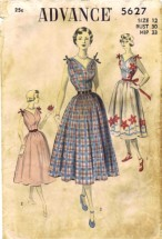 Advance 5627 Womens Full Skirt Dress Vintage Sewing Pattern Size 12 Bust 30