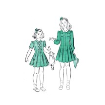 1940s Little Girls Front Zipped Dress with Long or Short Sleeves Advance 2839 Vintage Sewing Pattern Size 2 Breast 21