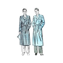 1940s Mens Double Breasted Shawl Collar Robe Advance 3080 Vintage Sewing Pattern Medium Chest 38 - 40