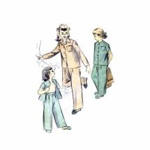 1940s Girls Pajamas Advance 4183 Vintage Sewing Pattern Size 4