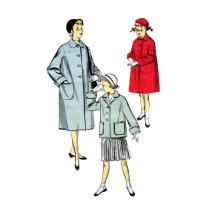 1950s Girls Full Length or Shortie Coat Advance 6538 Vintage Sewing Pattern Size 8 Breast 26