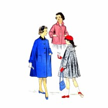 1950s Advance 8433 Girls Long or Shortie Coat Vintage Sewing Pattern Size 10