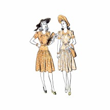 1940s Misses Afternoon Sweetheart Neck Dress Advance 2778 Vintage Sewing Pattern Size 14 Bust 32