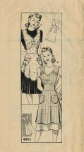 1940s Misses Scalloped Hemline Full Apron Anne Adams 4803 Vintage Sewing Pattern Size Small Bust 32 - 34