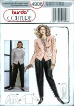 Burda 4906 Couture Jacket Blouse Pants Size 10 - 20