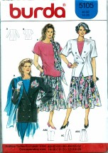 Burda 5105 Dress Jacket Skirt Top Scarf Size 14 - 26