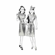 1940s Basque Dress Butterick 1867 Vintage Sewing Pattern Size 14 Bust 32